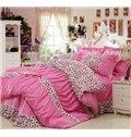 New Arrival 100% Cotton Korean Style Princess Lace Pink Leopard 4 Piece Bedding Sets/Duvet Cover Sets