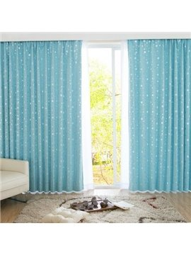 High Quality Light Blue Window Shade One piece Curtain with Beautiful Pattern
