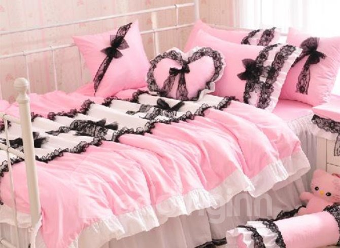Beautiful Lace Pink 4 Piece Cinderella Duvet Cover Sets