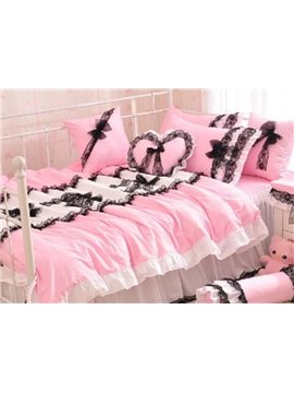 New Arrival 100% Cotton Princess Style Beautiful Lace Pink 4 Piece Bedding Sets in Promotion