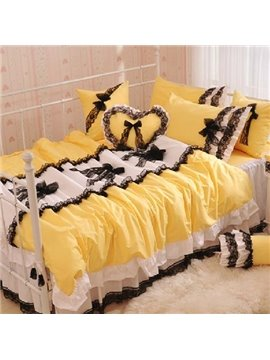 New Arrival 100% Cotton Princess Style Beautiful Lace Yellow 4 Piece Bedding Sets