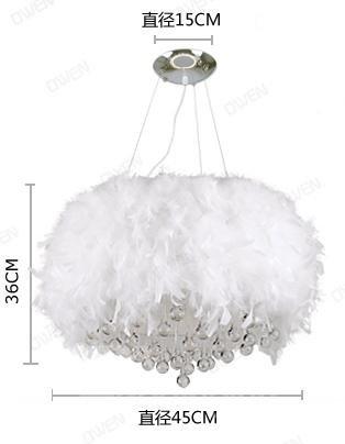 Fsahion Modern Feather Decorative Crystal Droplight