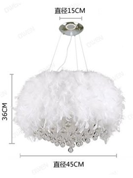 Fsahion Modern Feather Decorative Crystal Droplight