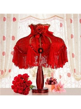 Exquisite Bright Red High-end Embroidery Lace Table Lamp