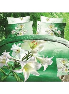New Arrival High Quality 100% Cotton Thriving Blooming Lily Reactive Print 4 Piece Bedding Sets