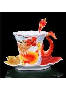 Unique Porcelain Enamel Dragon Coffee Cup Set