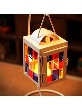 New Arrival Vintage Colorful Organic Glass Grid Candle Holder