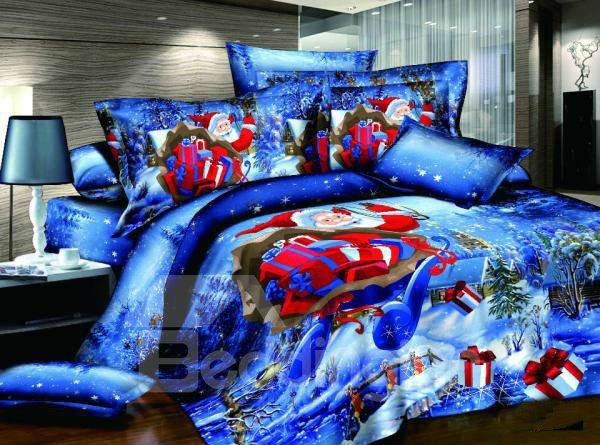 Christmas Gift Red Santa Claus Reactive Print 4 Piece Bedding Sets 10781704