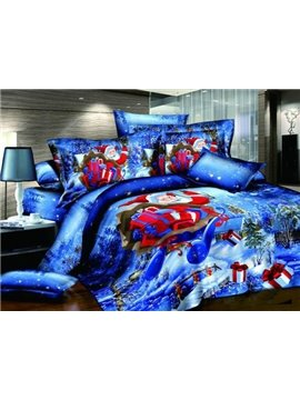 New Arrival 100% Cotton Christmas Red Santa Claus Reactive Print 4 Piece Bedding Sets