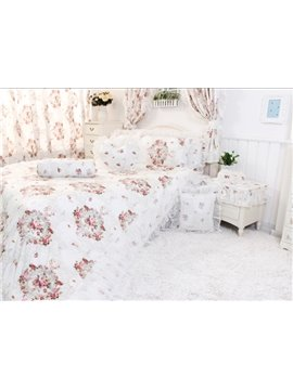 Top Grade 4 Piece Flower Print White Whole Cotton Bedding Sets