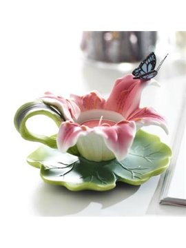 Romantic Lily Shape Relief Sculpture of Butterfly Candle Holder