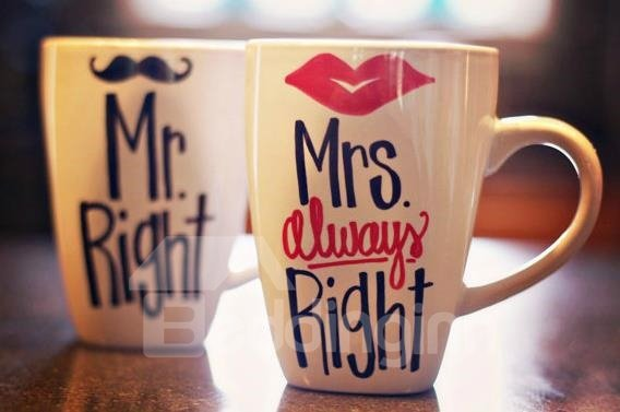 New Arrival Hand-painted Creative Cup with Sexy Lip or Whiskers Sign (One Pair)