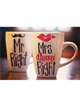 New Arrival Hand-painted Creative Cup with Sexy Lip or Whiskers Sign One Pair