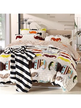 New Arrival Coral Fleece Fashionable Beard Pattern 4 Piece Bedding Sets /Duvet Cover Sets