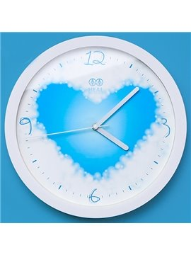 Heart-shape Sky and White Cloud Mute Wall Clock