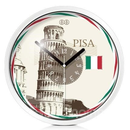 Vintage Italian the Leaning Tower of Pisa Pattern Mute Wall Clock