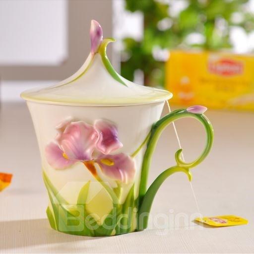 Gorgeous Porcelain Purple Irises Mug with Flower Lid