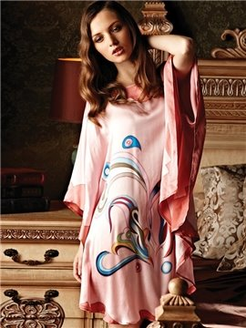 New Arrival Top Grade Silk Light Yellow Hand-Painting Batwing-sleeved Sleepwear