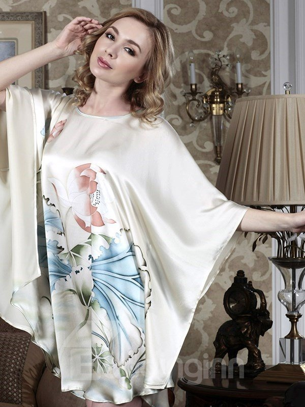 New Arrival Top Grade Silk Gray Hand-Painting Batwing-sleeved Sleepwear