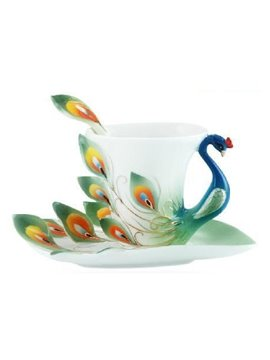 New Arrival Beautiful Porcelain Enamel Peacock Coffee Cup Set