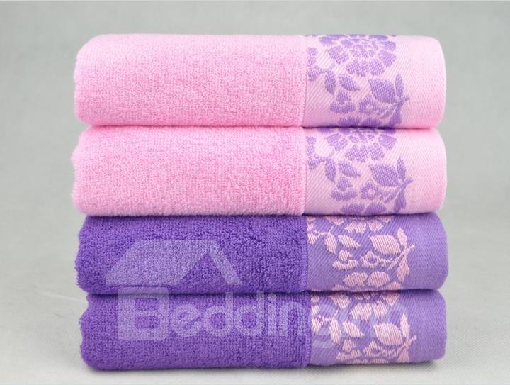 Comfortable Bamboo Fiber Elegant Leaves Print 2-Pieces Towel