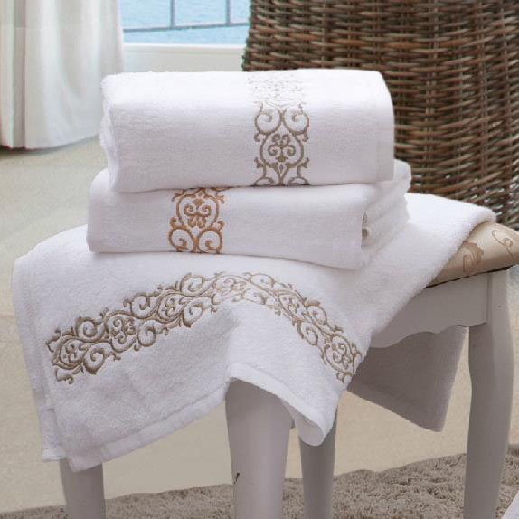 White Embroidery Floral Border Print Cotton Bath Towel
