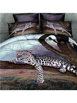 New Arrival Leopard Perching on a Tree Reactive Print 4 Piece Bedding Sets