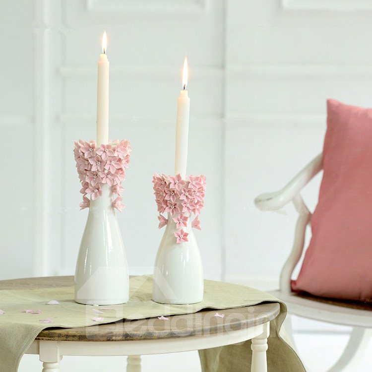 Elegant Lovely Flower Blossom Ceramic Artistic Candle Holder Two Color