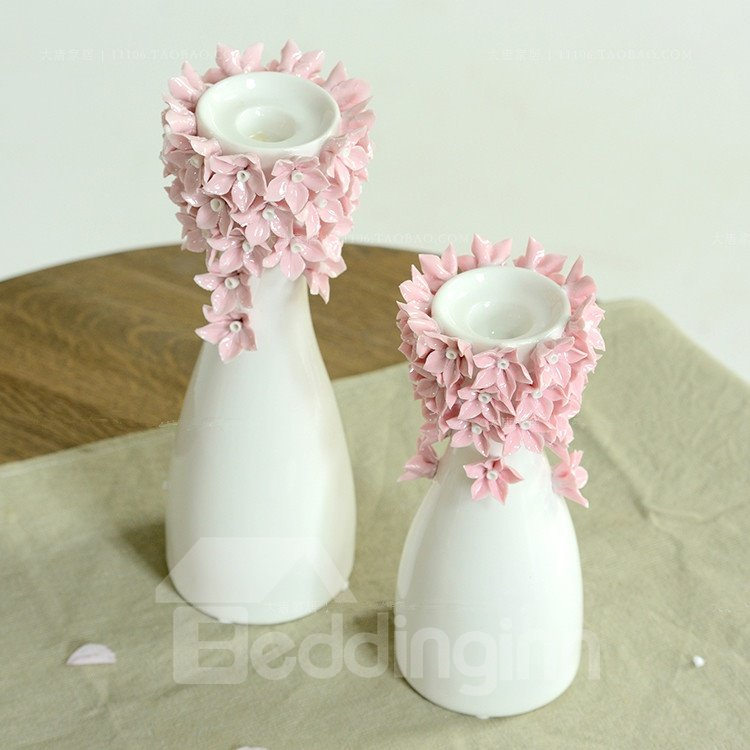 Elegant Lovely Flower Blossom Ceramic Artistic Candle Holder Two Color
