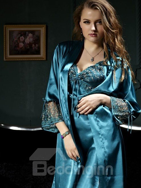 New Arrival 2 Piece Elegant Sleepwear with Hollowed Design Sleeves