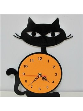 Lovely Black Cat Acrylic Mute Wall Clock