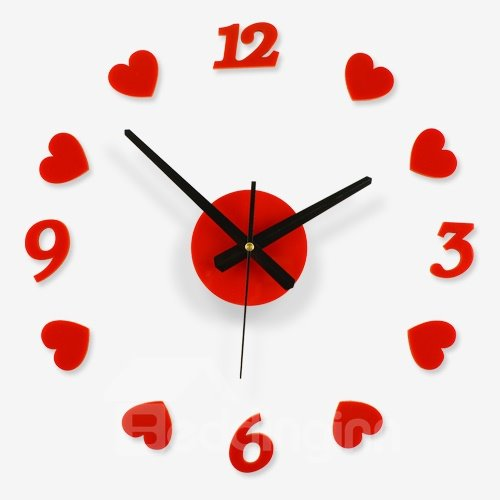 New Arrival Heart-shape DIY Mute Artistic Wall Clock