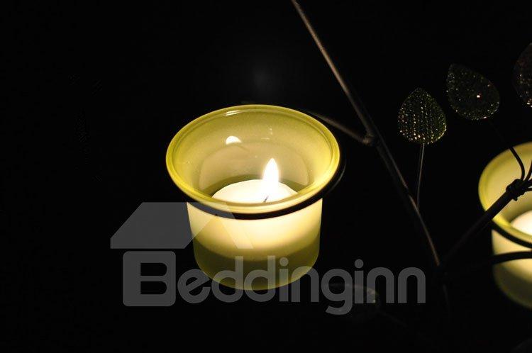 Elegant Wrought Iron Blue Leaves Glass Candle Holder