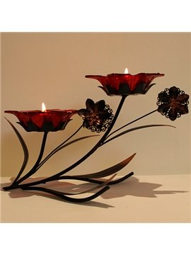 Emulational Glass Flower Head Wrought Iron Vintage Candle Holder with Two Head