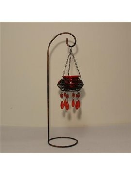 New Arrival Vintage Morocco Wrought Iron Wine Red Glass Head Candle Holder