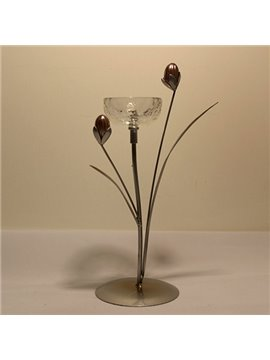 Good-looking Modern Wrought Iron Crystal Tulip Style Candle Holder