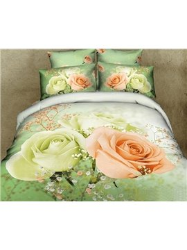 New Arrival Gorgeous Blooming Mint Rose Print 4 Piece Bedding Sets/Comforter Sets
