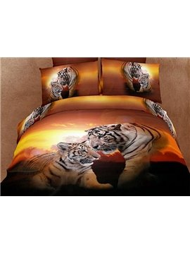New Arrival Top Class Sunset Sweet Couple Tiger Print 4 Piece Bedding Sets/Comforter Sets