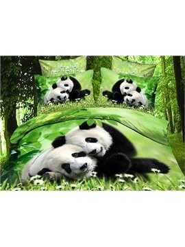 New Arrival Cute Snuggled Pandas Print 4 Piece Bedding Sets