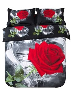 New Arrival High Quality Wild Black and White Rose 4 Piece Bedding Sets/Comforter Sets