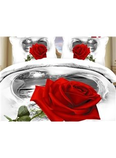 New Arrival High Quality One Beautiful Blooming Rose Print 4 Piece Bedding Sets/Duvet Cover Sets
