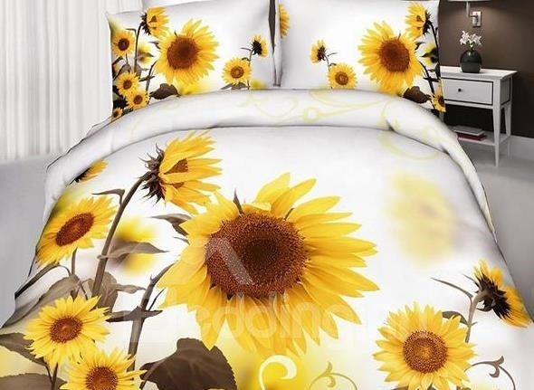 new arrival cotton skincare optimistic sunflower print 4 piece bedding sets duvet cover sets. Black Bedroom Furniture Sets. Home Design Ideas