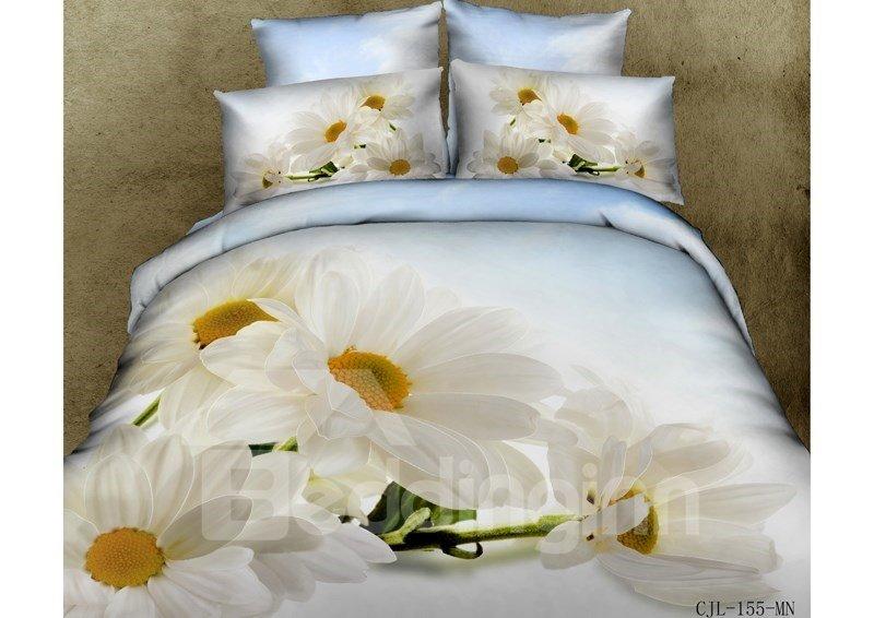 White Daisy Print 4-Piece Cotton 3D Duvet Cover Sets