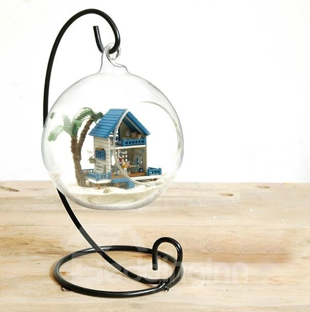 New Arrival Unique Handcraft Diy Christmas Gift Romantic Mini Aegean Sea Cabin Including