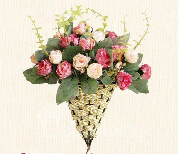 European Style Hanging Diamond Roses Rattan Bouquet Set