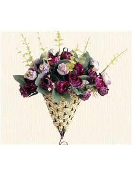 European Style Hanging Diamond Roses Rattan Bouquet Set