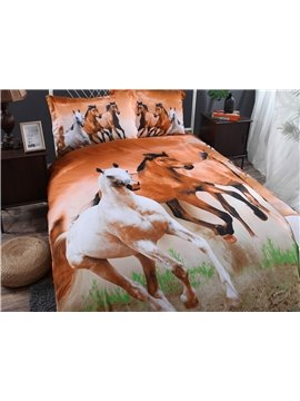European Style Galloping Horse Reactive Print 4 Piece Bedding Set