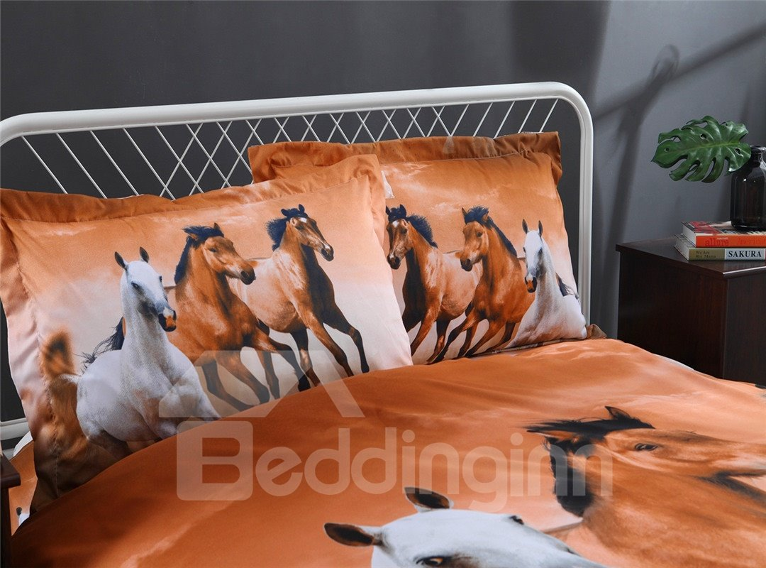European Style Galloping Horse Reactive Print 4 Piece Polyester Bedding Set