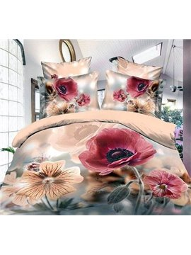 European Style Oil Painting Ink Flower Reactive Print 4 Piece Polyester 3D Bedding Sets