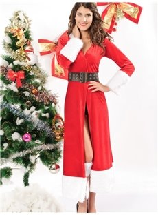 Red Winter Fantasy Long Christmas Costume